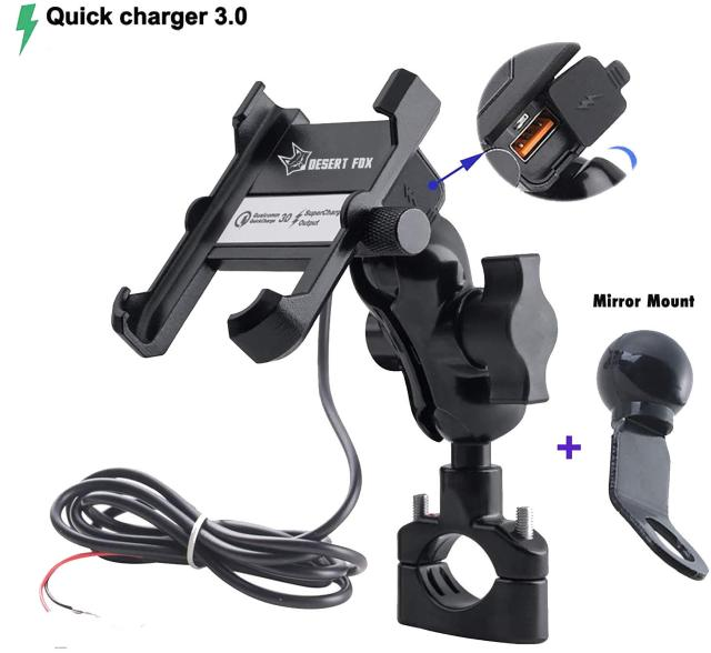 charge and phone holder for motorcycles
